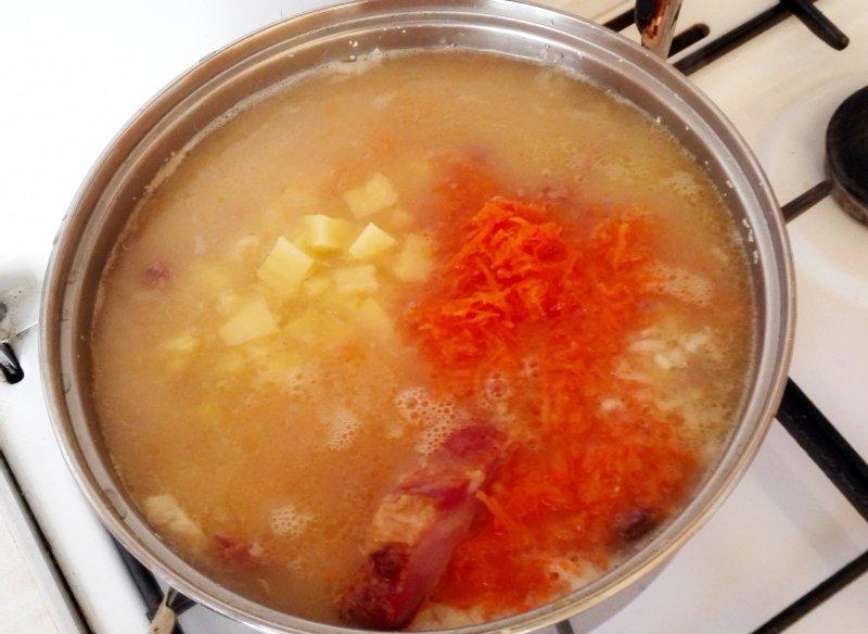 Гороховый суп с копченостями и тушенкой | Рецепт приготовления | Шаг 5