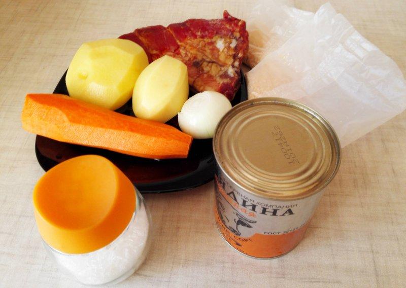 Гороховый суп с копченостями и тушенкой | Рецепт приготовления | Шаг 1