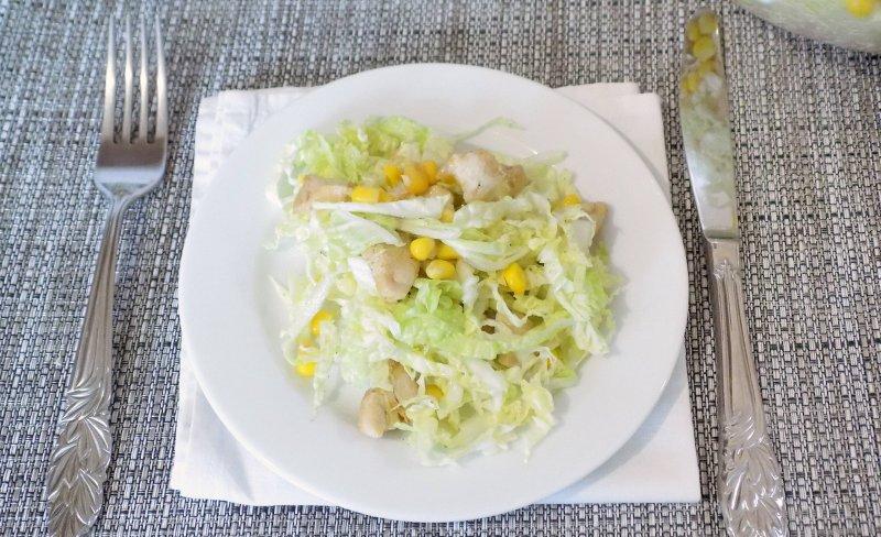 Легкий салат с курицей и пекинской капустой | Рецепт приготовления | Шаг 8